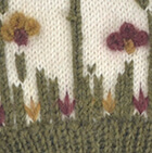 Embroidered Garden Alpaca Hat - Fleece Lining in Natural