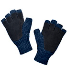 Alpaca Half Finger Double Layer Driving Gloves in Denim-Black