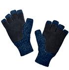 Denim-Black Alpaca Half Finger Double Layer Driving Gloves