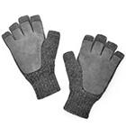 Grey Mlge-Grey Alpaca Half Finger Double Layer Driving Gloves