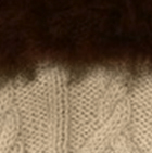 Beige-FurBrown Alpaca Cable Fingerless Gloves with Fur