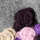 Grey Mlge. Colored Flowers Alpaca Mittens
