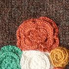 Brown Mlge. Colored Flowers Alpaca Mittens