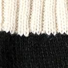 Black.-Natural Tassel Baby Alpaca Fingerless Gloves