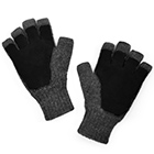 Grey Mlge.-Black Alpaca Half Finger Double Layer Driving Gloves