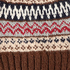 Fair Isle Alpaca Hat in Brown.-Comb3