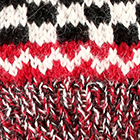 Checkboard Baby Alpaca Half Finger Gloves in Red-Natural-Black