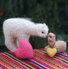Natural Needle Felted Sweet Mother and Baby Alpaca