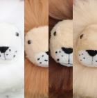 "Various BABY Alpaca Fur - Sitting Lion Ornament 13"""
