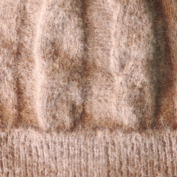 Sand Mlge. Alpaca Fur Pom Pom Cable Hat