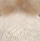 Natural Alpaca Fur Pom Pom Cable Hat