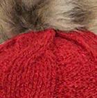 Red Alpaca Fur Pom Pom Cable Hat