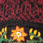 Burgundy Mlge. Alpaca Embroidered Leaf Hat - Fleece Lining