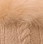 Beige-FurBeige Diamond Cable Alpaca Fur Hat