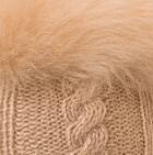 Beige-FurBeige Diamond Cable Alpaca Gloves With Fur