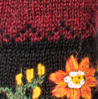 Burgundy Mlge. Alpaca Embroidered Leaf Gloves