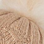 Beige  Priscilla Alpaca Fur Pompom Hat