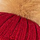 Burgundy Priscilla Alpaca Fur Pompom Hat