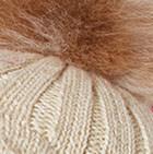 Natural Priscilla Alpaca Fur Pompom Hat