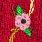 Burgundy Embroidered Alpaca Fingerless Gloves