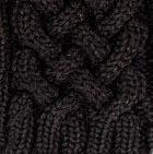 Black Shadow Cable Alpaca Fingerless Gloves