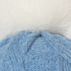 Corn Flower Alpaca Fur Pom Pom Cable Hat