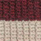 Knitted Alpaca Hat with Flower Bow in Burgundy Mlge.-Beige
