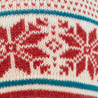 Natural-Red-Blue Jade Norwegian Snowflakes Alpaca Glittens with broach