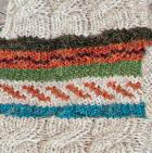 Glacier Grey-Multicolor Jacquard Striped Alpaca Fingerless Gloves