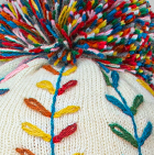 Natural Embroidered Alpaca Autumn Leaves Hat - Fleece Lining