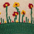 Beige-Deep Green Embroidered Garden Alpaca Hat - Fleece Lining