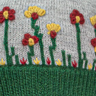 Lt. Grey-Deep Green Embroidered Garden Alpaca Hat - Fleece Lining