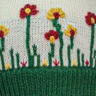 Natural-Deep Green Embroidered Garden Alpaca Hat - Fleece Lining