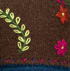 Brown Embroidered Flower Alpaca Hat
