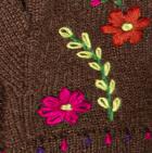 Brown Embroidered Flower Alpaca Fingerless Gloves
