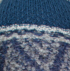Lt. Grey-Steel Blue Shipibo Alpaca Boucle Hat with Ear Flaps
