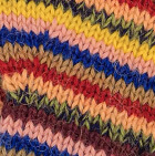 Multicolor 10 Striped Alpaca Fingerless Gloves