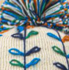 Beige Embroidered Alpaca Autumn Leaves Hat - Fleece Lining