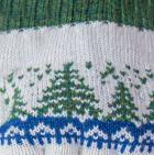 Natural-Steel Blue-Green Mlge. Scandinavian Winter Alpaca Reversible Half Finger Gloves