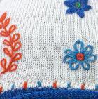 Natural Embroidered Flower Alpaca Hat