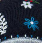 Black Embroidered Flower Alpaca Hat