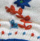 Natural Embroidered Flower Alpaca Fingerless Gloves