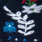 Black Embroidered Flower Alpaca Fingerless Gloves