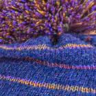 Prussian Blue Brushed Striped Alpaca Hat