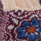 Beige-Burgundy Mlge.-Lt. Grey Snowflake Embroidered Alpaca Half Finger Gloves- Fleece Lining