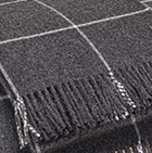 Charcoal-Natural Woven & Brushed Plaid Baby Alpaca Throw
