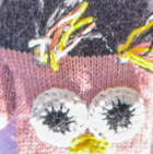 Pink-Charcoal Alpaca Kids - Owl Alpaca Mittens