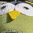 Apple Green-Charcoal Alpaca Kids - Owl Alpaca Hat with Ear Flaps