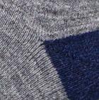 Navy-Grey heather Fair Isle Alpaca Unisex Socks