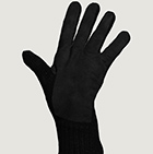 Black-Black Alpaca Double Layer Driving Gloves